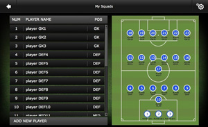 Mourinho Tactical Board - Step 2 - Press the players name and then choose his position on the pitch